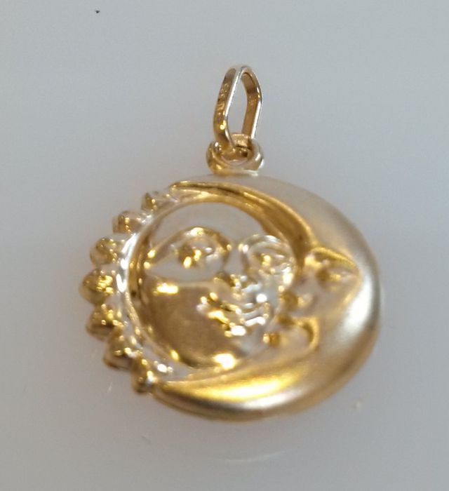 Quot Sun Amp Moon Quot Pendant In Matte Finish And Polished Gold