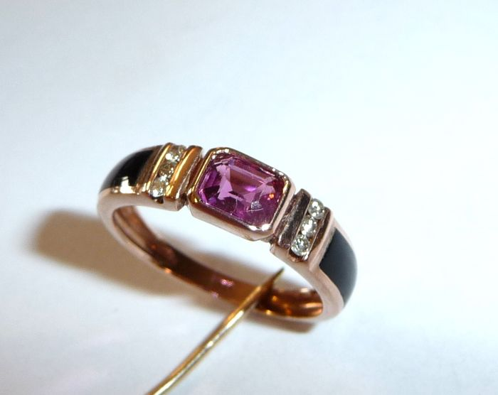 Red gold ring with 6 diamonds black onyx pink tourmaline size 52 = 16 5