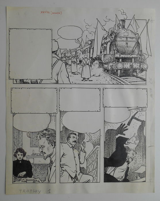 Original page by Milo Manara for 'Trotski'.The page is torn at the right-bottom  Comic Art