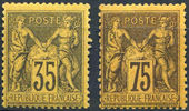 Check out our France 1878/90 - 35c and 75c Sage on yellow paper - Yvert 93 and 99