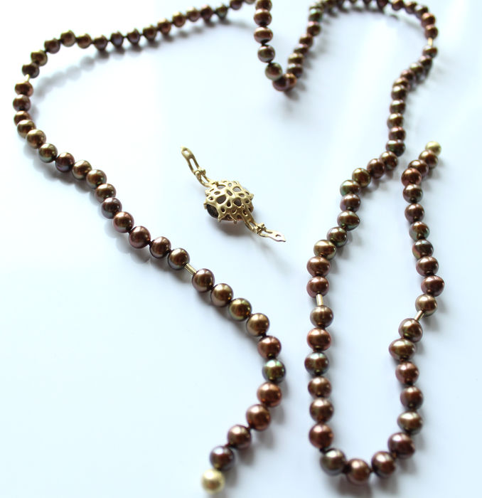 pearl necklace with 14 carat gold parts catawiki