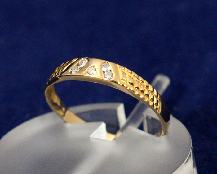Ring in gold 19 2K set with Diamonds Catawiki