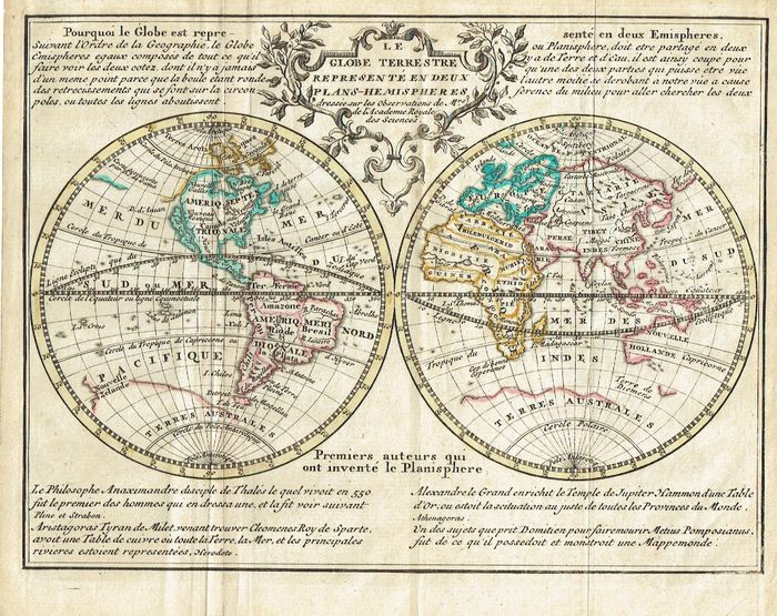 world hendrik de leth le globe terrestre represent en deux plans hemispheres ca 1750. Black Bedroom Furniture Sets. Home Design Ideas