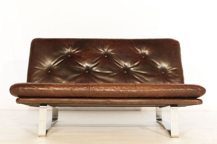 Kho Liang Ie For Artifort C684 Brown Leather 2 seater
