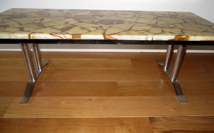 Coffee table with rectangular onyx blade on metal frame   Catawiki