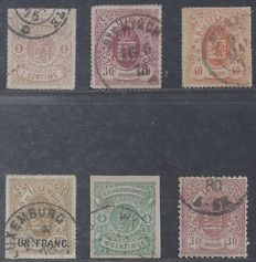 Luxembourg 1865/1875 - Coat of arms - Michel 12, 21, 23, 25, 26 and 34