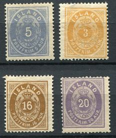 Iceland 1876/1882 - Second and third issue type 'Numeral' - Yvert 6A, 12A, 9A and 10A