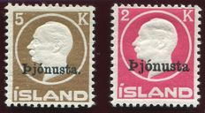 Iceland 1922 - Official stamps - Michel 41 II and 42
