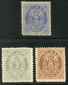 Iceland 1873 - First issue type 'Numeral' - Yvert 1, 2 and 4