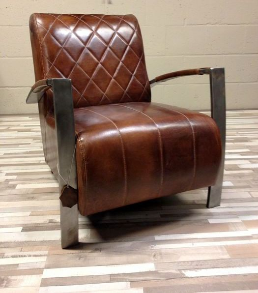 Sheep s leather clad smoking arm chair with metal frame