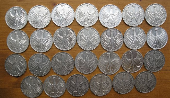 1974 Deutsche 5 Deutsche Mark 1951-1974