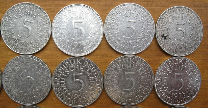 1974 Deutsche Mark Coin 5 Deutsche Mark 1951-1974