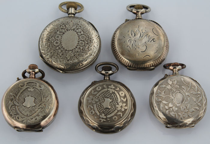 five antique silver pocket watches without brand catawiki