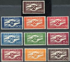 Portugal 1937/1941 - Airmail Coat of Arms and propeller - Yvert PA 1 to 10