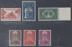 Luxembourg 1956/1957 - Coal Union and Europe - Michel 552/554 and 572/574
