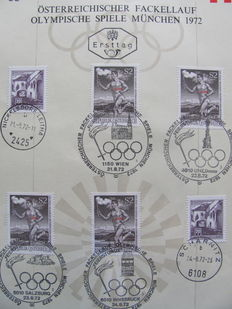 Olympic Games 1972 and Federal Republic of Germany - Collection of covers Torch Relay + FDCs
