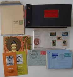 India 1953/1966 - Collection of FDCs and postal stationaries in small album