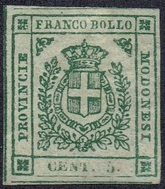 Italian States Modena 1859 - Coat of arms State - Sassone 12 with photo certificate