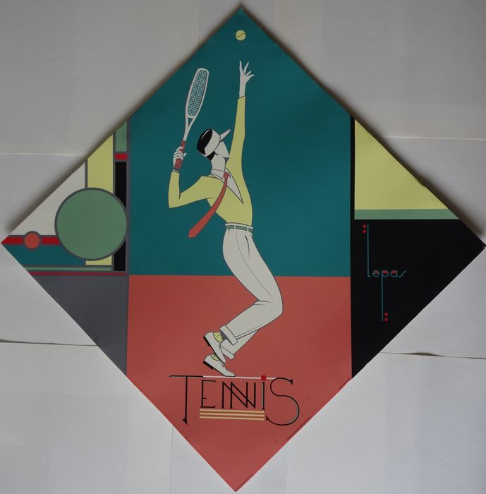 charles lepas sports tennis poster in the style of bauhaus and art deco circa 1990 catawiki. Black Bedroom Furniture Sets. Home Design Ideas