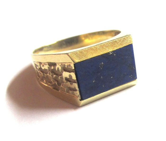 585 gold men 39 s ring with lapis lazuli rho stamp catawiki. Black Bedroom Furniture Sets. Home Design Ideas