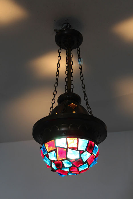 art nouveau hanging lamp with stained glass catawiki. Black Bedroom Furniture Sets. Home Design Ideas