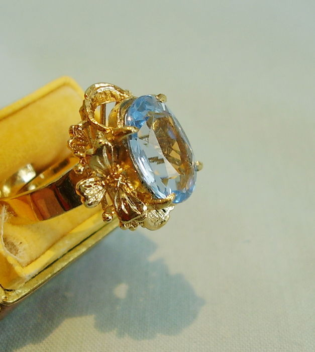 antique ring set with blue topaz catawiki