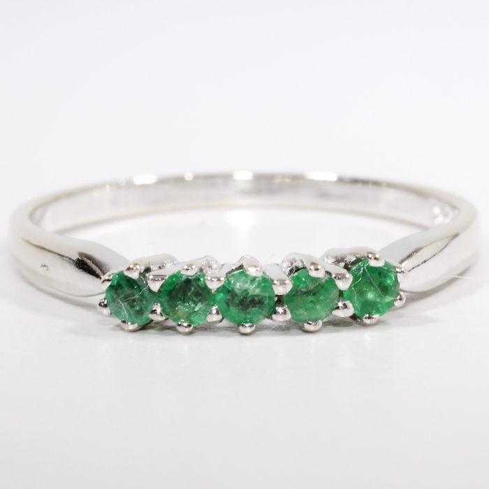14 k gold channel ring set with emerald catawiki