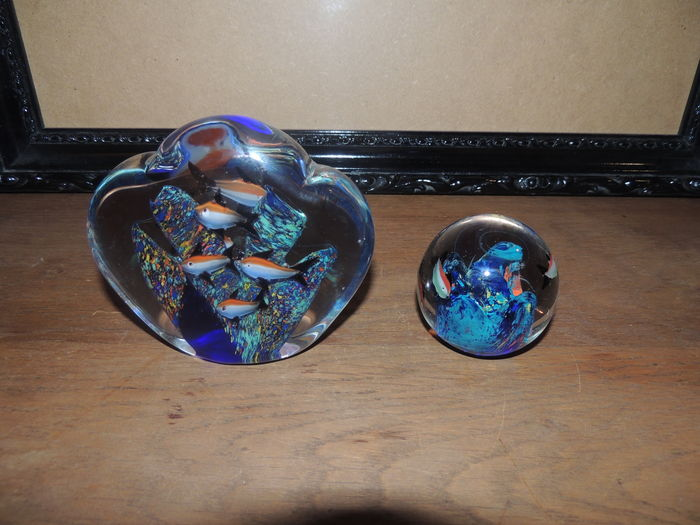 Murano lot aquarium et boule sulfure poissons 1970 for Poisson aquarium boule