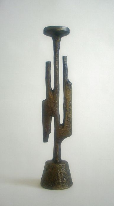 Iron Candle Stand Designs : Brutalist design candle holder bronze patinated cast