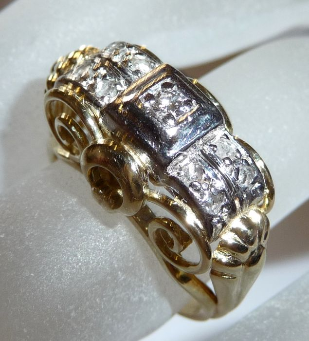 Art deco diamond ring with rich decoration 585 14 ct for 5 golden rings decorations