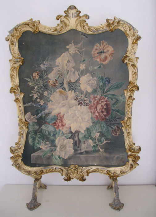 Decorative faux p te metal fireplace screen or folding for Rococo decorative style