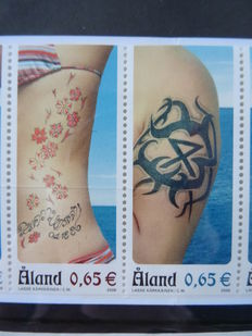Aland 1996/2011 - Selection on stock pages with stamps, stamp booklets, sheet parts, gutterpairs and the like