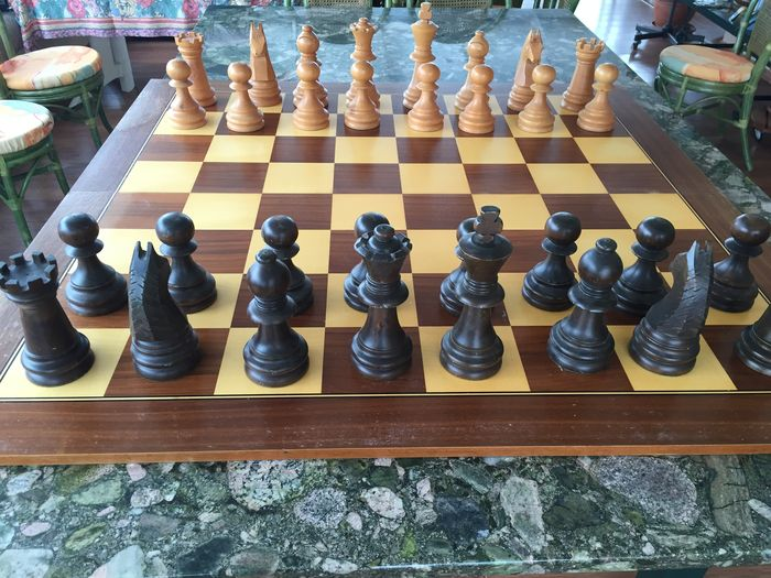 Very nice wood marquetry chess game table 140 cm 1960s - Chess nice image ...