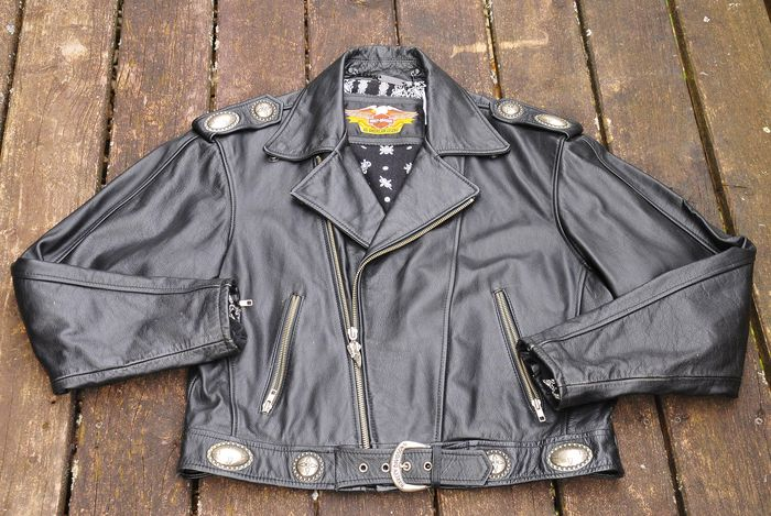 harley davidson motorradjacke lederjacke schwarz gr m. Black Bedroom Furniture Sets. Home Design Ideas