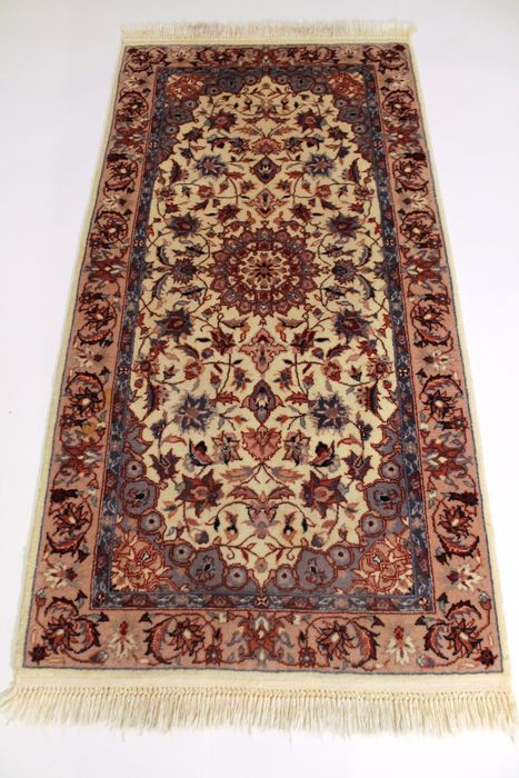 beautiful hand knotted oriental carpet isfahan cork wool rug carpet 70x140 cm tappeto tapis rug. Black Bedroom Furniture Sets. Home Design Ideas