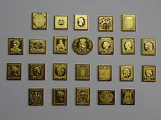 European countries - First issues - Collection of 24 miniatures of gold-plated sterling silver