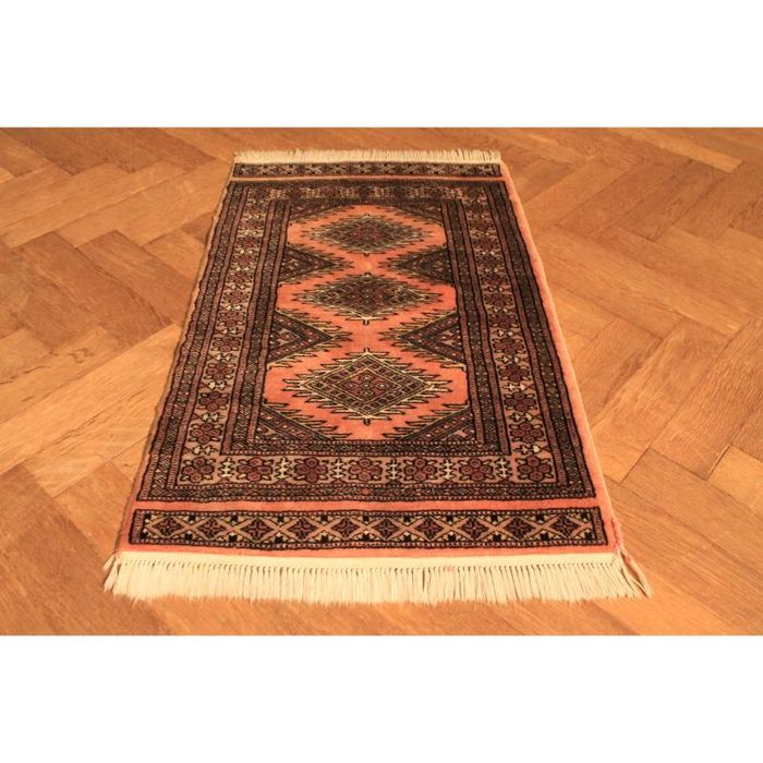 HAND-KNOTTED BUCHARA YOMUT RUG FROM PAKISTAN 60x100cm