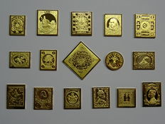 World - First issues - Collection of 16 miniatures of gold-plated sterling silver
