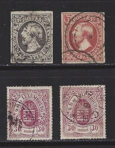 Luxembourg 1852/1875 - King William III and Coat of arms - Michel 1, 2 and 21 (2)
