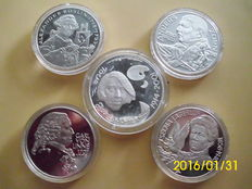 Sweden and Finland - 5x silver coins - silver