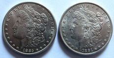 USA - 2x One Dollar 1885 and 1891 S - silver