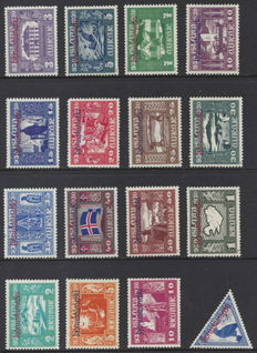 Iceland 1934/1935 - Allthing - Michel official stamps 44/59