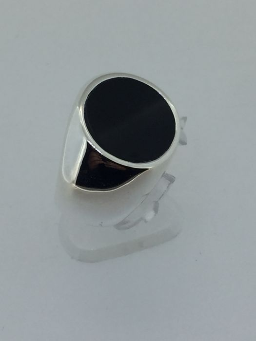 silver signet ring with onyx catawiki