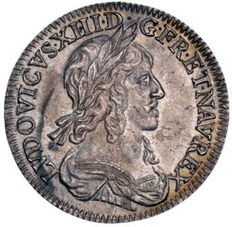France - ¼ Ecu 1642 A - Louis XIII (2 points variety) - silver