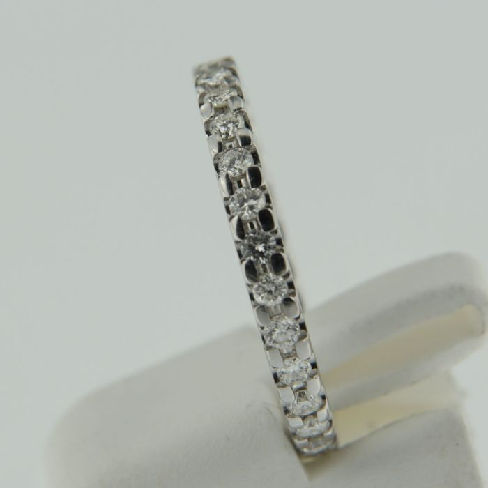 white gold eternity ring set with brilliant cut