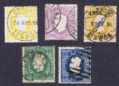 Portugal 1870/1893 - Selection of Yvert 37AA, 45A, 47A, 49A and 94