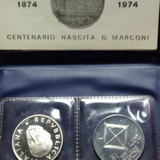 "Italy - 100 Lire 1974 ""Marconi"" Silver Pattern + UNC coin"