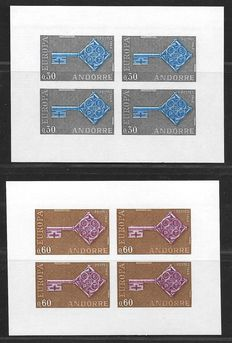 French Andorra 1968 - CEPT - Yvert 188/189 in imperforate blocks of four