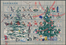 Christmas stamps Denmark, Greenland and Faeroe Islands 1911/2002 - Collection of sheetlets, sheet parts and loose stamps
