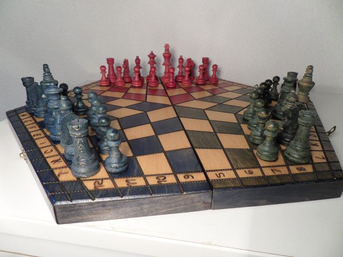 Chess Game For 3 Players Classic Wooden Chess Pieces